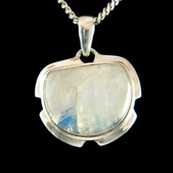Moonstone & Silver Pendant - Horseshoe 25mm