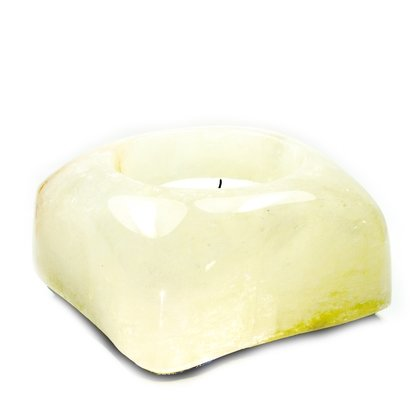 Moonstone Calcite Shallow Tealight Candle Holder ~92mm