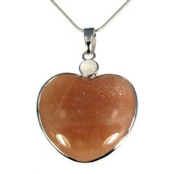 Moonstone Two Stone Heart Pendant