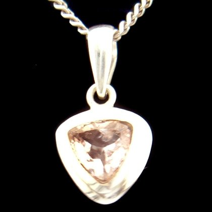 Morganite & Silver Pendant - Faceted 13mm