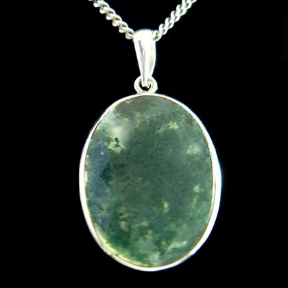 Moss Agate & Silver Pendant - Oval 30mm