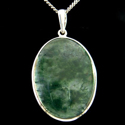 Moss Agate & Silver Pendant - Oval 38mm