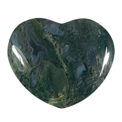 Moss Agate Crystal Heart ~45mm