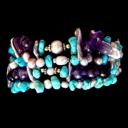Multi Gemstone Bracelet (4 Strand Beaded)