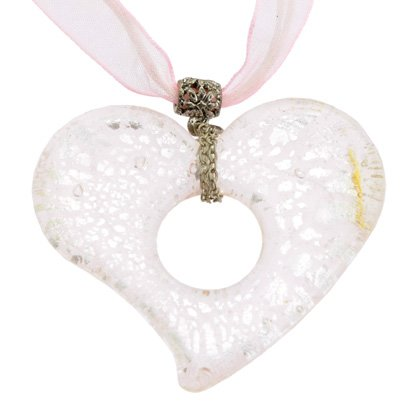 Murano glass heart pendant with cord clasp 18inch pink silver mozeypictures Choice Image