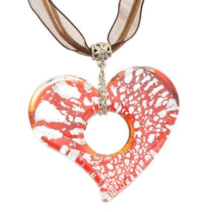 Murano Glass Heart Pendant with Cord & Clasp - 18inch (Red & Silver)