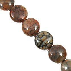Network Agate Crystal Beads - 25mm Flat Round