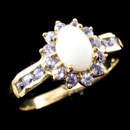 Milky Opal & Amethyst Ring in 9ct Gold