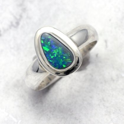 Opal & Silver Ring ~ 7.5 US Ring Size , P UK Ring Size