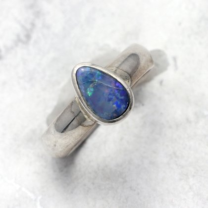 Opal & Silver Ring ~ 7 US Ring Size , O UK Ring Size