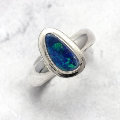 Opal & Silver Ring ~ 8 US Ring Size , Q UK Ring Size
