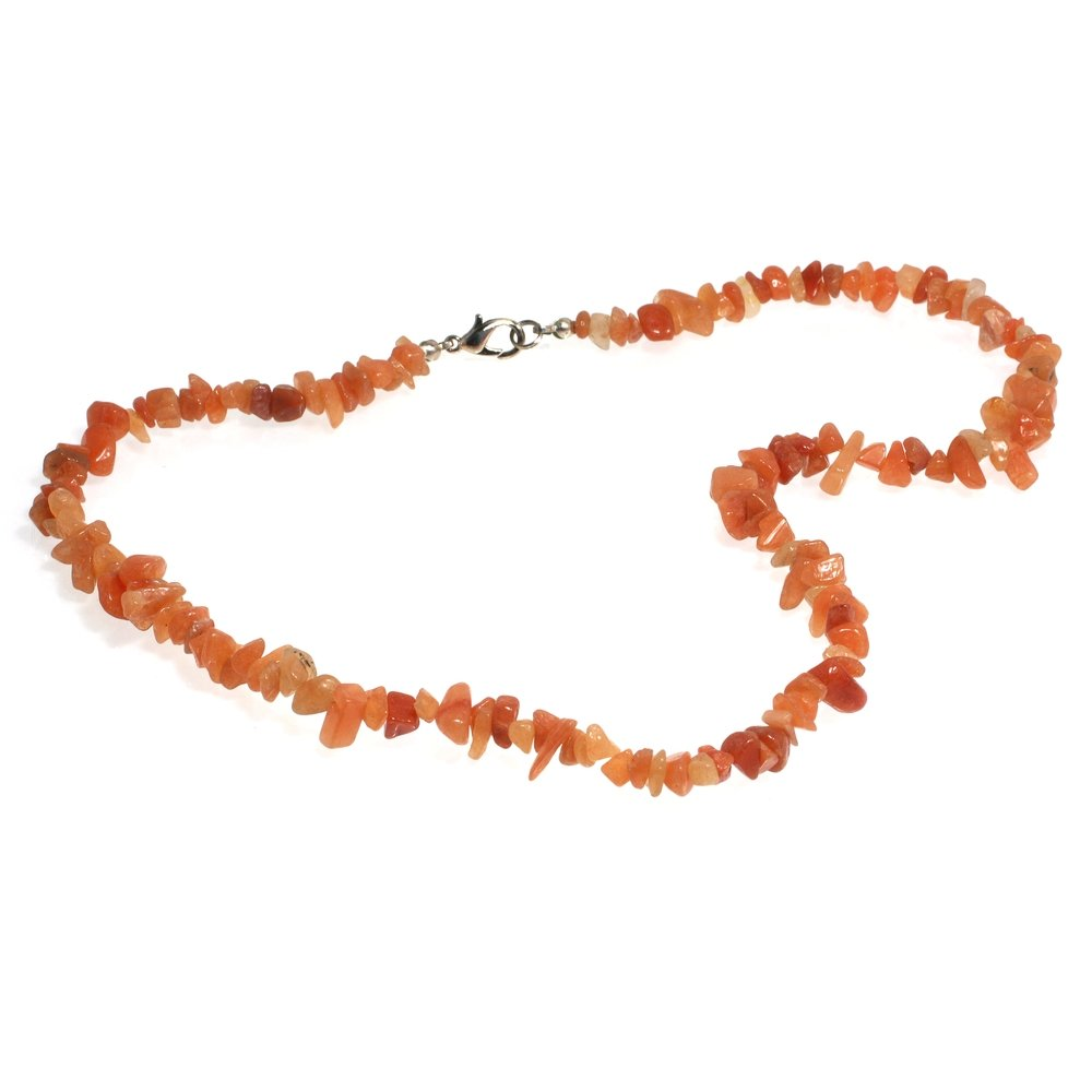 Peach Aventurine Gemstone Chip Necklace with Clasp