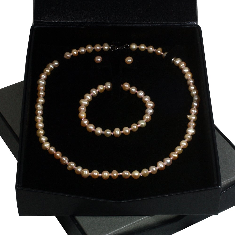 Peach Pearl Jewellery Gift Set