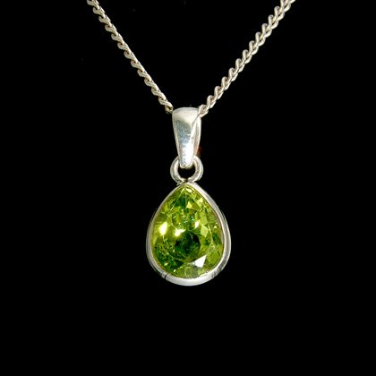 Peridot & Silver Pendant, Faceted Droplet - 14mm