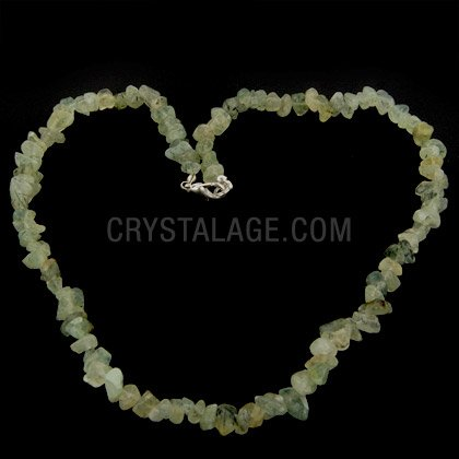 Prehnite & Epidote Gemstone Chip Necklace with Clasp