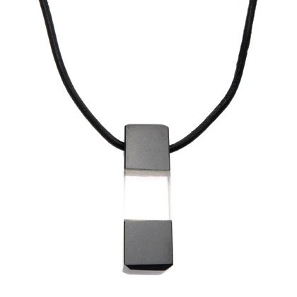 Quartz & Obsidian Pendant - Square 28mm