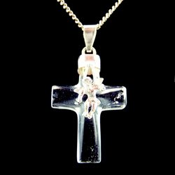 Quartz & Silver Pendant - Angel Cross (28mm)
