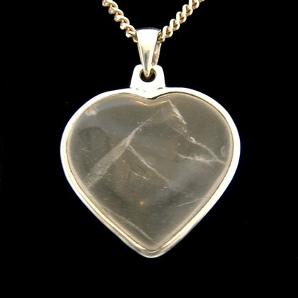 Quartz & Silver Pendant - Heart  29mm