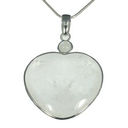 Quartz Two Stone Heart Pendant