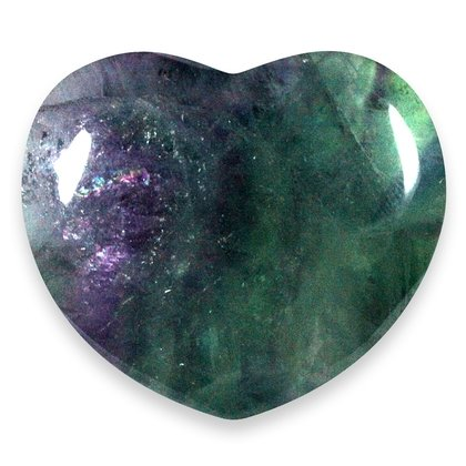 Rainbow Fluorite Crystal Heart ~45mm