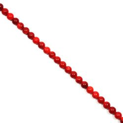 Red Bamboo Coral Crystal Beads - 6mm Round