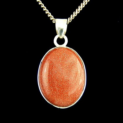 Red Goldstone & Silver Pendant - Oval 25mm
