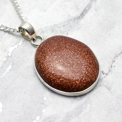 Red Goldstone & Silver Pendant - Oval 30mm