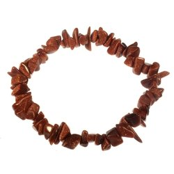 Red Goldstone Gemstone Chip Bracelet