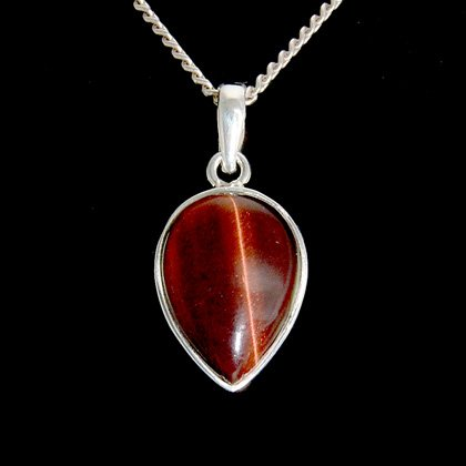 Red Tiger Eye & Silver Pendant - Droplet 21mm