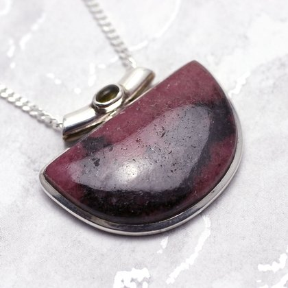 Rhodonite & Silver Pendant - Two Stone 38mm