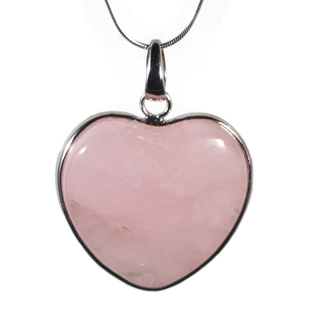 NEW PINK//ROSE QUARTZ CRYSTAL GEMSTONE HEART PENDANT 925 STERLING SILVER NECKLACE