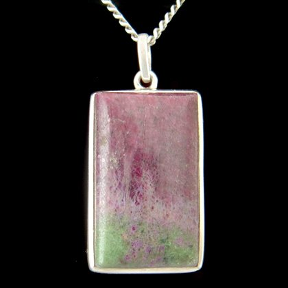 Ruby Zoisite & Silver Pendant - Rectangle 30mm
