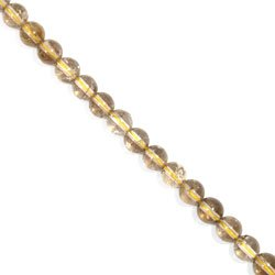 Rutilated Quartz Crystal Beads - 8mm Silver / Gold Round