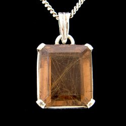 Rutilated Smoky Quartz Pendant - Faceted Rectangle 22mm