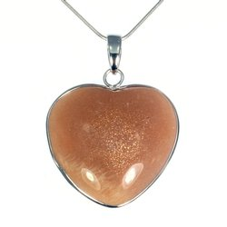 Shaded Moonstone Silver Rim Heart Pendant