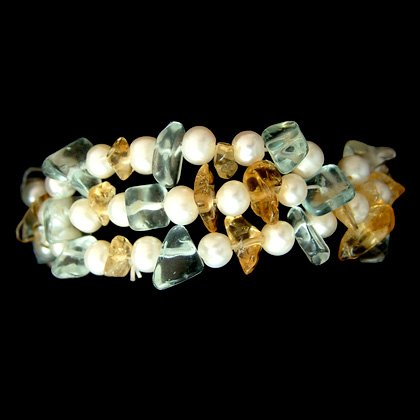 Shell, Aquamarine & Citrine Elasticated Bracelet