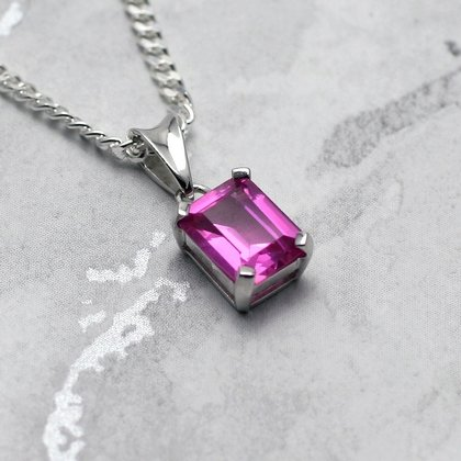 Siberian Pink Sapphire Rectangle Pendant ~10mm