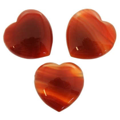 Side Drilled Carnelian Hearts - 30mm