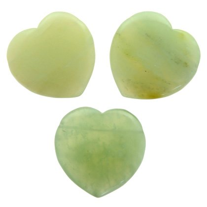 Side Drilled New Jade Hearts - 40mm