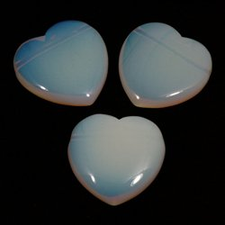 Side Drilled Opalite Hearts - 40mm