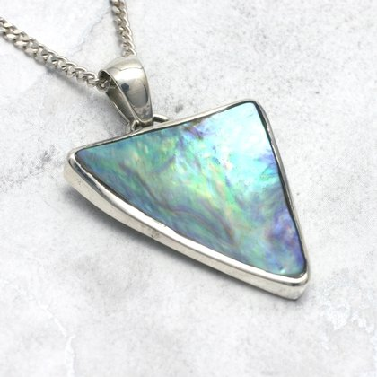 Silver & Abalone Shell Pendant - Triangle 30mm