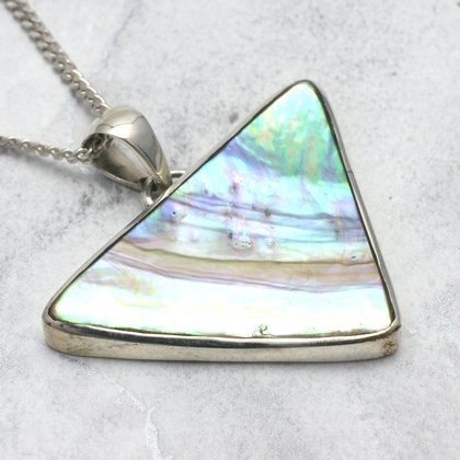 Silver & Abalone Shell Pendant - Triangle 40mm