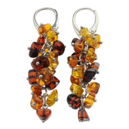 Silver & Amber Earrings (Hanging Clusters)