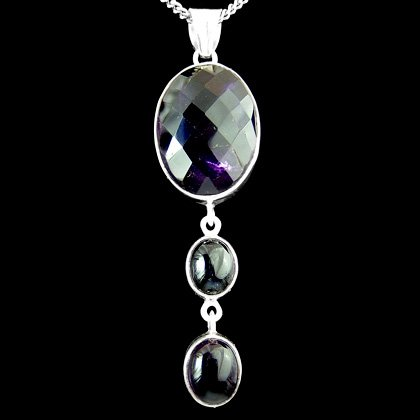 Silver & Amethyst Pendant - Faceted Oval Drop 60mm