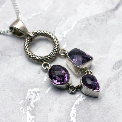 Silver & Amethyst Pendant - Faceted Stone Loop 50mm