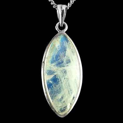 Silver & Moonstone Pendant - Long Diamond 35mm