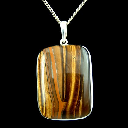 Silver & Tiger Eye Pendant - Soft Rectangle 42mm