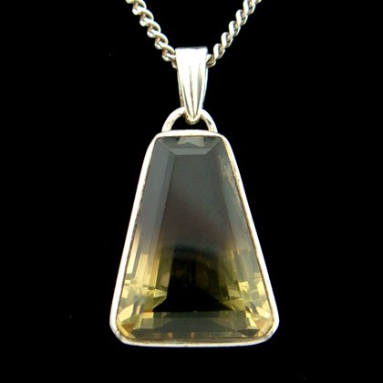 Smoky Gold Quartz & Silver Pendant - Faceted Wedge 24mm
