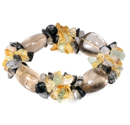 Smoky Quartz Tumble Stone & Multi Gemstone Chip Bracelet