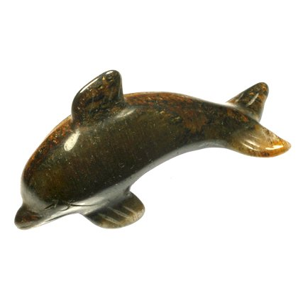 Tiger Eye Carved Crystal Dolphin